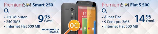 PremiumSIM mit Motorola Moto G ohne Zuzahlung