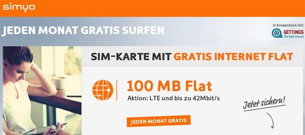 simyo SIM-Karte mit 100 MB LTE-Internet