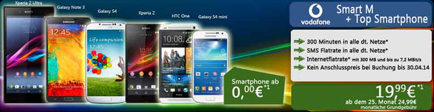 Vodafone Smart M neue Angebote mit Handys