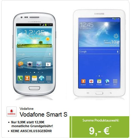 Vodafone Smart S mit Samsung Galaxy S3 Mini und Galaxy Tab 3 (7.0)