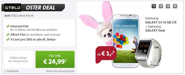 Sparhandy Oster Deal mit Samsung Galaxy S4 und Galaxy Gear