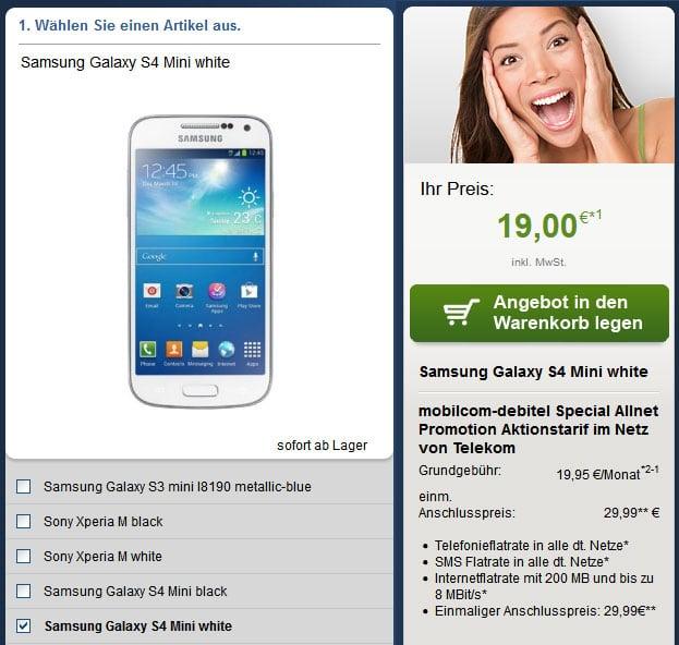 Telekom Special Allnet (md) mit u.a. Samsung Galaxy S4 Mini, Sony Xperia M