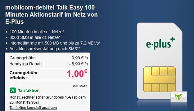 mobilcom-debitel Talk Easy 100 für 1 € Grundgebühr
