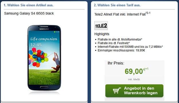 Tele2 Allnet mit u.a. Samsung Galaxy S4