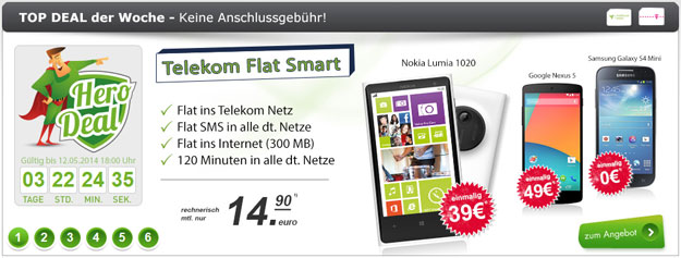 Telekom Flat Smart mit z.B. Nokia Lumia 1020 im Hero-Deal