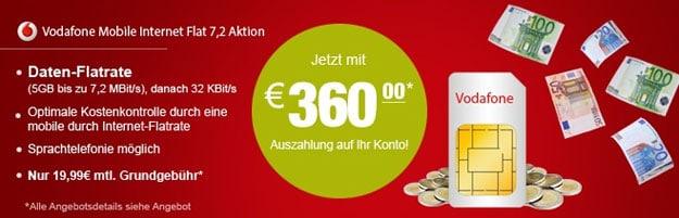 Vodafone MobileInternet mit 360 € Auszahlung