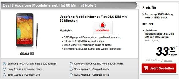 Vodafone MobileInternet 21,6 mit Samsung Galaxy Note 3, Sony Xperia Z1 Compact