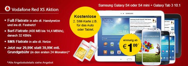 Vodafone Red XS mit Samsung Galaxy S4 und Galaxy Tab oder anderen Smartphones