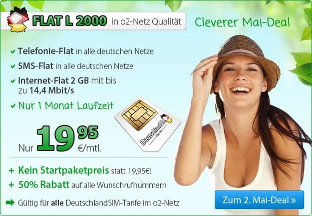 DeutschlandSIM Flat L 2000 - 19,95 EUR