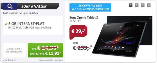Sony Xperia Tablet Z - o2 Datenflat