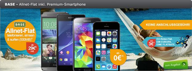 BASE all-in classic z.B. mit Galaxy S5, Xperia Z2