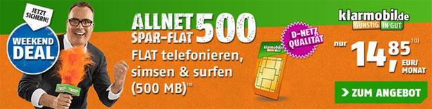 Klarmobil Allnet-Flat für 14,85 €