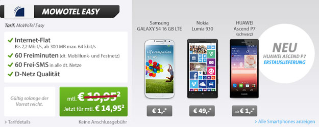 MowoTel Easy z.B. mit Huawei Ascend P7 und Nokia Lumia 930 mit Gewinn