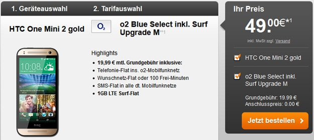 o2 Blue Select mit Surfupgrade M und HTC One Mini 2 u.a.