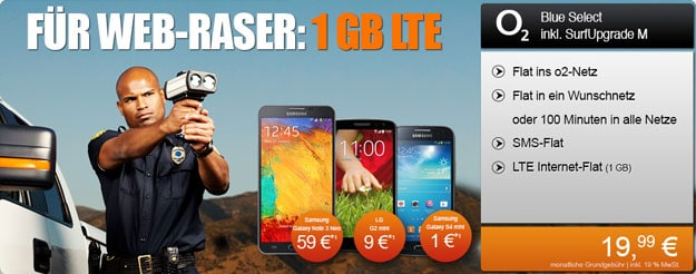 o2 Blue Select mit Surfupgrade M und LG G2 Mini, Galaxy Note 3 Neo u.a.