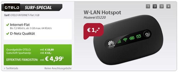 Otelo Internet Flat mit Huawei E5220 3G Hotspot