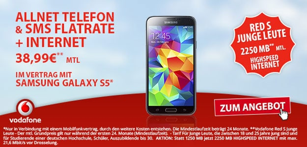 Vodafone Red S Junge Leute mit Samsung Galaxy S5
