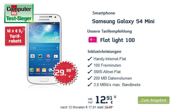 Samsung Galaxy S4 Mini mit Telekom Flat Light 100