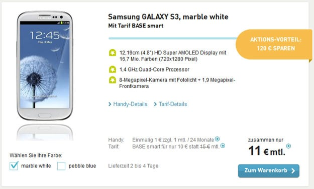 Samsung Galaxy S3 mit BASE Smart