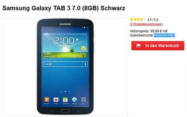 Samsung Galaxy Tab 3 (7.0) WiFi für 99,99 €