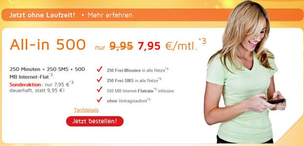 SimDiscount All-in 500 für 7,95 € mtl.