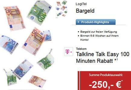 Talkline Talk Easy 100 mit 250 € Auszahlung