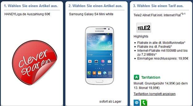 Tele2 Allnet-Flat mit 60 € Auszahlung und z.B. Samsung Galaxy S4 Mini