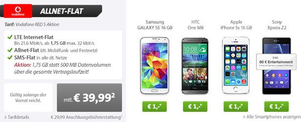 Vodafone Allnet-Flats mit Top-Handys und Auszahlung