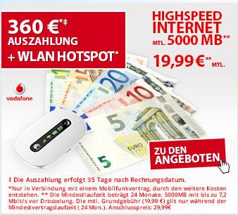 Vodafone Datentarif mit 360 € Auszahlung und Huawei WLAN-Router