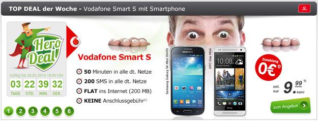 Vodafone Smart S mit HTC One Mini, Samsung Galaxy S4 Mini DuoS und bis zu 34 € Ersparnis
