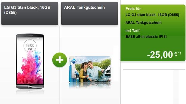 BASE all-in mit ARAL-Tankgutschein + LG G3 u.a.