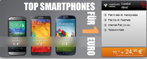 mobilcom-debitel Comfort Allnet Telekom mit HTC One Mini 2 u.a.
