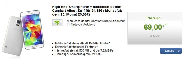 md Comfort Allnet Vodafone mit Samsung Galaxy S5 u.a.