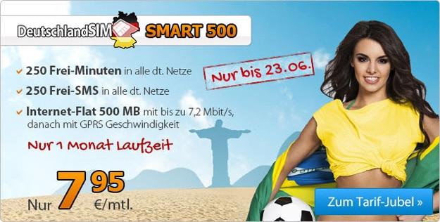 DeutschlandSIM Smart 500 für 7,95 € mtl. zur WM