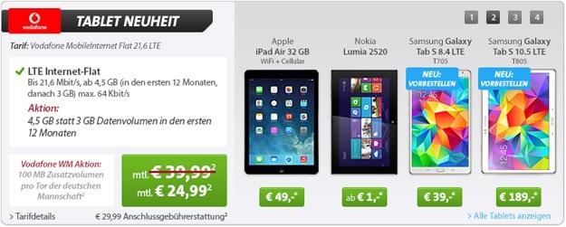 Vodafone-LTE-Datentarif ab eff. kostenlos mit z.B. iPad Air 32GB 4G