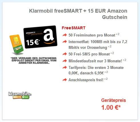 freeSmart + 15-EUR-Amazon-Gutschein