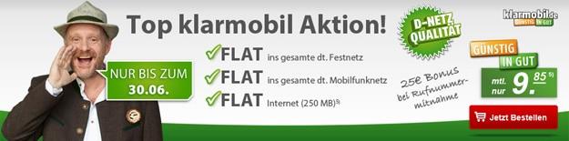 Klarmobil Allnet-Flat im Telekom-Netz für 9,85 € mtl.