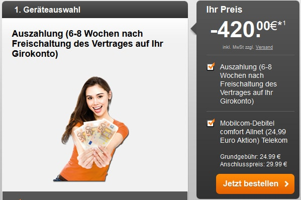 mobilcom-debitel Comfort Allnet Telekom mit 420 € Auszahlung