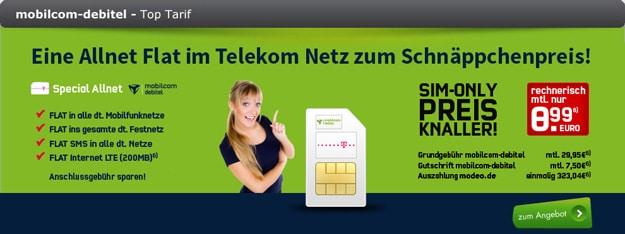 mobilcom-debitel Special Allnet Telekom von modeo