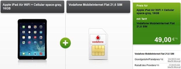 Vodafone Mobileinternet Flat 21,6 mit iPad Air