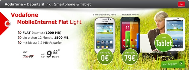 modeo Vodafone MobileInternet Flat 7,2 light mit Handy und Tablet