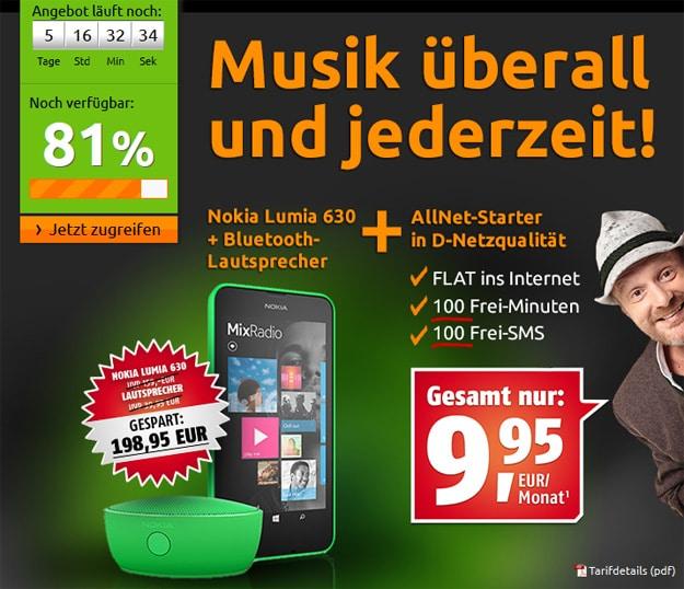 Nokia Lumia 630 mit Bluetooth Lautsprecher und AllNet Starter von Klarmobil