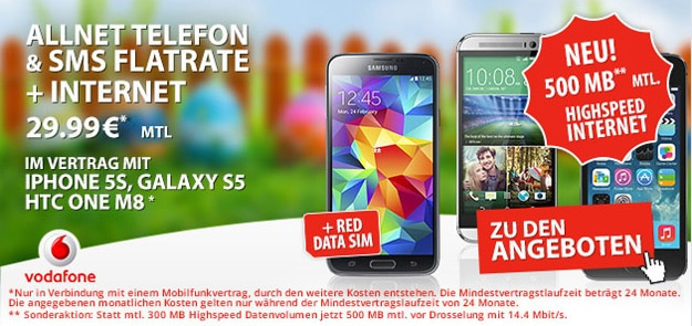 Vodafone Red XS mit 500 MB LTE-Internetflat + 2. Data-SIM