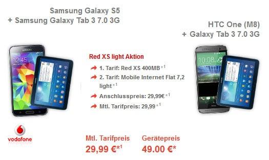 Vodafone Red XS mit 5 GB Datentarif und Samsung Galaxy S5 + Tab 3 (7.0) 3G