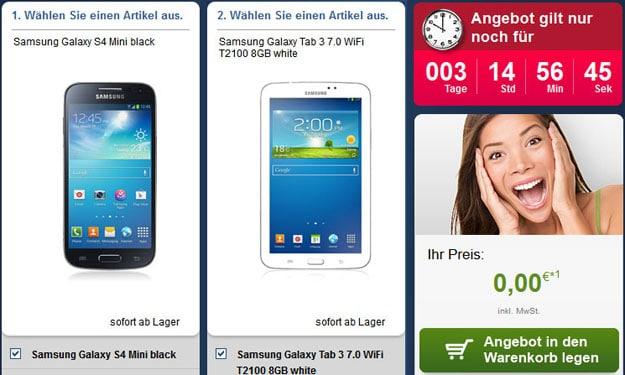 Samsung Galaxy S4 Mini und Galaxy Tab 3 (7.0) für 0 € zum Vodafone Smart S