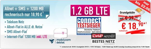 Telekom Special Allnet 1,2 GB LTE mit 264 € Auszahlung
