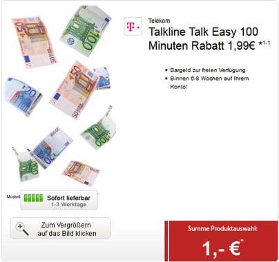 Talkline Talk Easy 100 Telekom für 1,99 € durch 249 € Auszahlung