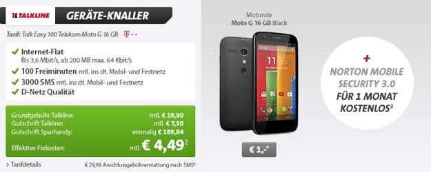 Talk Easy 100 Telekom mit Motorola Moto G