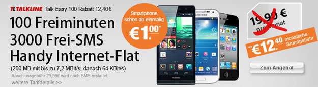Talkline Talk Easy 100 mit Top-Smartphones