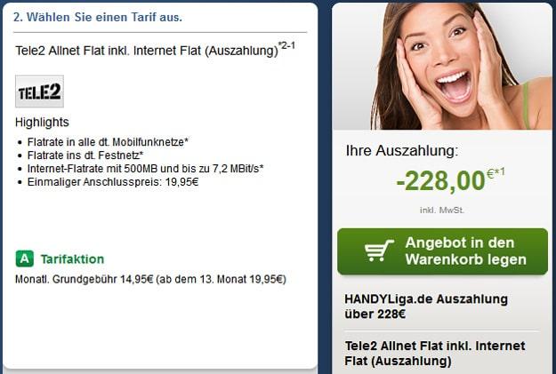 Tele2 Allnet Flat mit 228 € Auszahlung